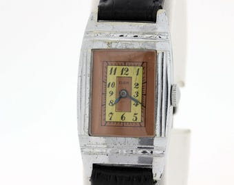 Elgin Wrist watch With Geometric Engraved Case