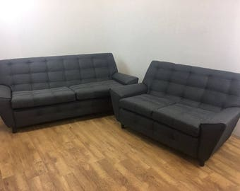 2 and 3 Seater Grey Charcoal Retro Sofas