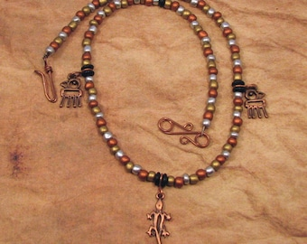 Petroglyph Beaded Necklace with Parrot and Lizard Charms, Lizard Pendant, Petroglyph Charm Necklace, Parrot Charms, Copper Jewelry