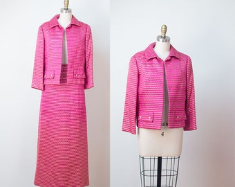1960s Christian Dior Suit / 60s Hot Pink and Gold Silk Jacket and Skirt