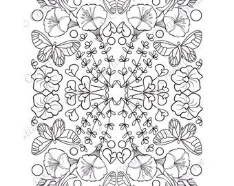 Adult coloring page, kaleidoscope, flower, butterfly, swirl, petunia, morning glory, stylized.  Spring Flowers. PDF