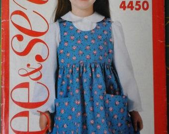 80s Butterick 4450 Girls Jumper Dress and Blouse, size 2-3-4