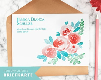 """Personalized letter cards with floral illustration """"Scandinavian Summer"""" and your name"""