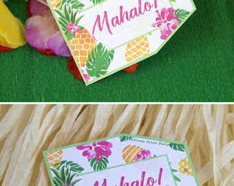 Pineapple Favor Tags Printable, Luau Favor Tags, Hawaiian Favor Tags, Party like a Pineapple, Luau Party Supplies, Gift Tag INSTANT DOWNLOAD
