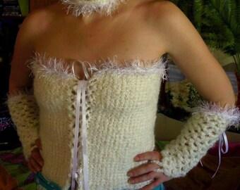 Tunisian Crochet Lingerie  Night Set Corset Gauntlets Necklace Choose Your Color