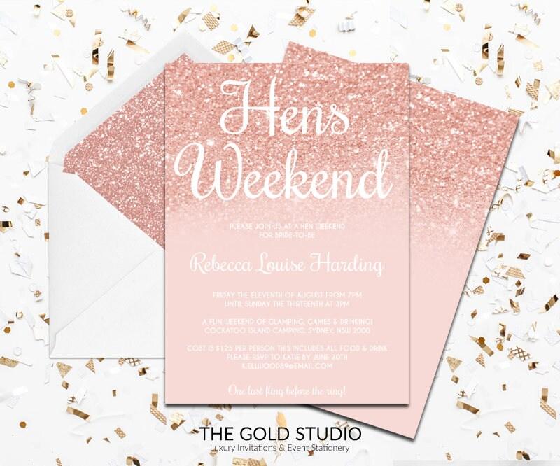 Rose Gold Hens Weekend Invitation | Modern Elegant Hens Party ...