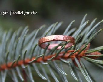 Stacking Ring, Forged Copper Ring, Hammered Copper Stackable Ring, Ring For Her, Hammered Stacking Ring, Copper Jewelry
