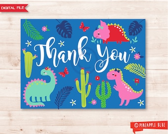 Girls dinosaur thank you card | Jungle thank you card | Dinosaur thank you card | Girls dinosaur birthday party | Dinosaur themed party