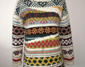 Wool sweater woman with hand-crafted designs size 42/44 Italian
