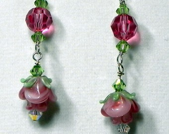 Light Rose Lampwork Earrings