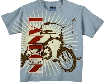 Retro Tricycle Shirt, Personalized Boys T-Shirt Top