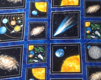 Outer Space Flannel Fabric Planets Galaxy Solar System