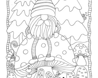 """Christmas - """"Happy Harry"""" , 1 Adult Coloring Book Page, Printable Instant Download"""