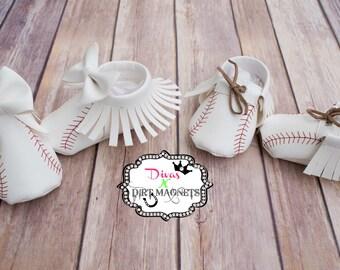 Baby Baseball Moccasins - Baby Shoes - Newborn Moccasins - Newborn Shoes - Custom Baseball Moccasins
