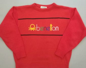 Vintage Benetton spell out red sweater