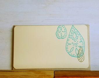 Turquiose Drop Letterpress Flat Note Cards - set of 6