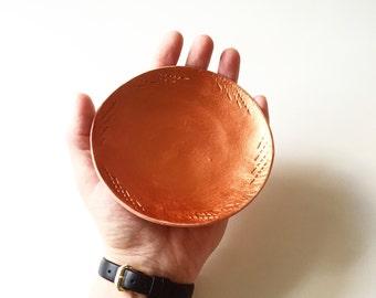 Copper clay jewellery dish bowl, trinket bowl, catchall. Terracotta dish