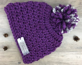 """Quote"""" Im All Kinds Of Awesome""""/ Purple with Purple and Gray Pom Pom Crochet Hat with Hand Stamped Quote/ Winter Hat/ Hygge Hatte"""