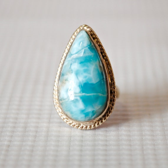 Sterling Silver Larimar Ring Sz 4.5 #6346
