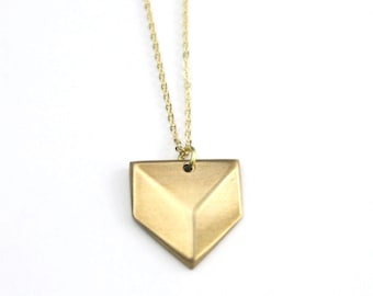 Geometric Necklace | Brass Modern Geometric Necklace | Chevron Charm Necklace | Layering Necklace | Brass Necklace | Gold Necklace