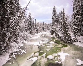 Frozen Barriere River Winter, Thompson-Okanagan, BC Landscape Wall Art | Canadian Fine Art Photography Print