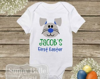 First Easter Shirt; Easter boysuit; Personalized Easter Bunny Onesie; Baby Clothes; First Easter; Baby Bodysuit