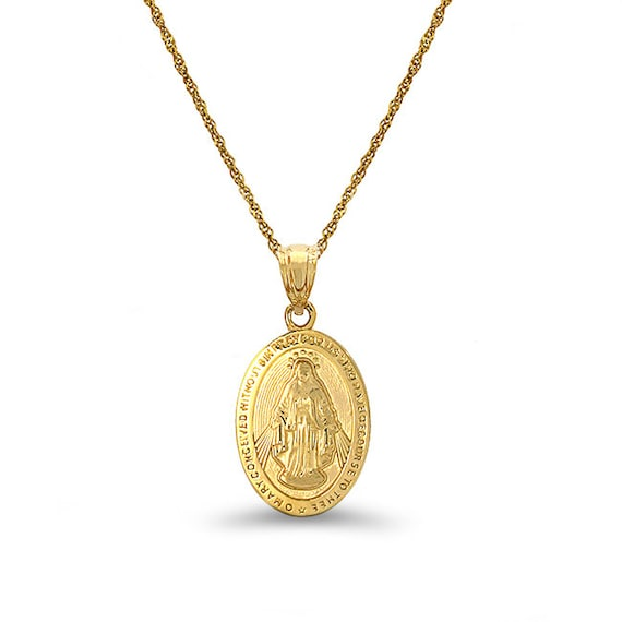 14k solid gold virgin mary medallion pendant with 18 aloadofball Choice Image