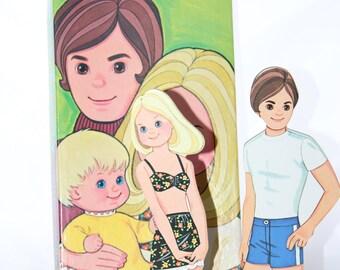 1974 Sunshine Family Paper Doll 41 Piece Set -- Whitman, Mattel -- Steve, Stephie, Sweet -- Toy, Doll, Dress Up
