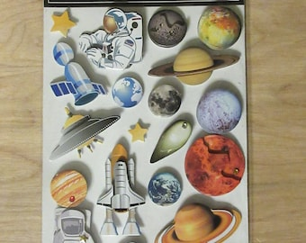 Outer Space Stickers~Earth~Mars~Space Ship~Stars