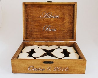 Guest Book, Wedding Guest Book Box, Personalized Wedding Guest Book Alternative, Large Rustic Box, Custom Wood Wedding Box With 100 Hearts