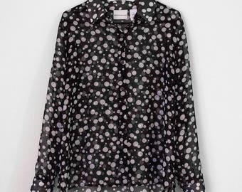 Sheer Black and White Shapes Blouse