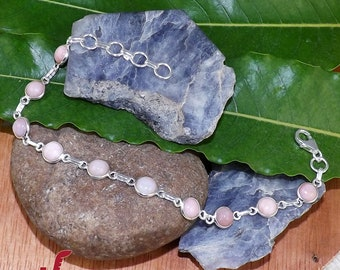 Opal Bracelet, Pink Opal Bracelet, 925 Silver Bracelet, Minimalist Bracelet, Handmade Bracelet, Bezel Bracelet, Pink Jewelry, Gift For Her