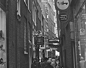 "Amsterdam Street, Amsterdam Vintage Photography, Black & White Canvas Art, Architecture Black White Print, ""Bicycles on Amsterdam St"""