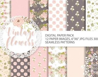 Seamless Vintage flowers, digital paper, scrapbooking paper, digital background, digital paper, Instant Download