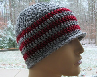 Men's Skull Cap, Crochet Hat, Ski Hat, Winter Accessory, Gift for Him, Grey Hat, Crochet Beanie, Red Stripe Hat, Handmade, Crochet Ski Cap