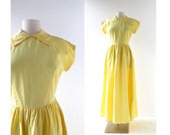 Vintage 40s Gown | 1940s Maxi Dress | 1940s Taffeta Dress | XS