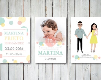 Custom Illustrated First Baptism Invitation or Keepsake Gifts