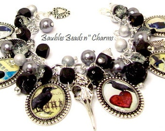 Raven Blackbird Charm Bracelet Jewelry, Edgar Allan Poe Nevermore Charm Bracelet Jewelry, Altered Art Charm Bracelet