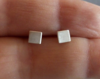 Mens Earrings, Tiny Stud Earrings, Minimalist Earrings, Earrings for Men, Square Earrings, Post Earrings, Everyday Jewelry, Handmade