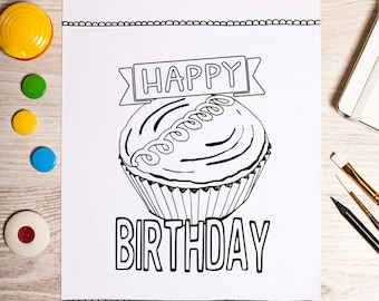 happy birthday coloring sheet, printable coloring page, downloadable coloring sheet, instant print at home and color, birthday gift present