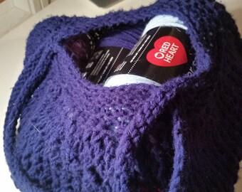 Knit Market Bag, Hand Knit Bag, Knit Purse, Lace Bag, Beach Bag, Purse