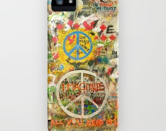 The Beatles iPhone Case John Lennon Peace Sign 6, 5, SE, 4s, 4, 3gs, 3 Imagine All You Need is Love