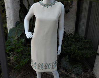 Vintage 1960's Embellished Beige Dress - Size 10