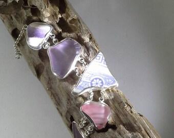 Shades of rare pink and lavendar bracelet.