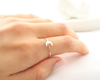 Tiny Crescent Moon Ring // Sterling Silver or 14k Gold Filled