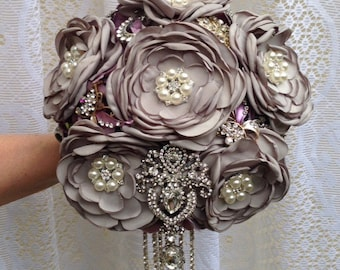 Grey and Purple Rose Brooch Bouquet