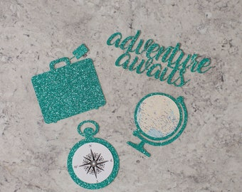 Traveling theme cupcake toppers; Adventure awaits; Going away party