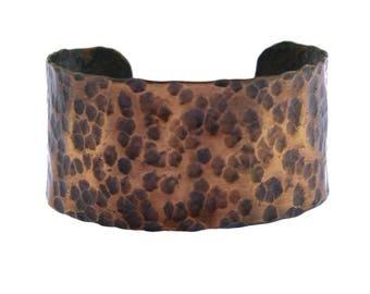 Vintage Copper Cuff Bracelet, Wide Copper Cuff, Stamped Copper Cuff Bracelet, Hammered Copper Cuff Bracelet