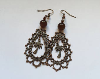 Brown earrings with Palm tree ref 809