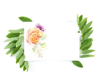 Rose watercolor card, Floral note card, Card for mom, Thank you card, Stationery set